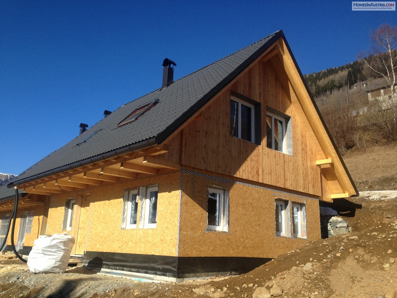 Kaning, Carinthia, Wooden Chalet, brand new construction, sunny, on the hillside